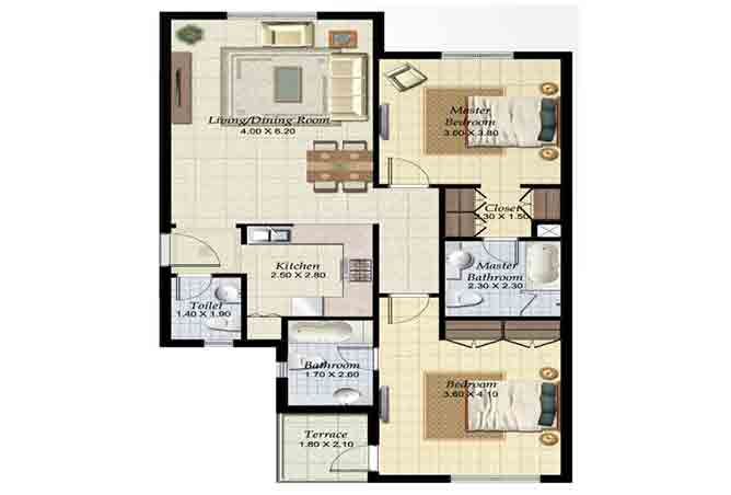 Al Ghadeer Floor Plan 2 Bedroom Terraced Apartment Type a 1054 Sqft