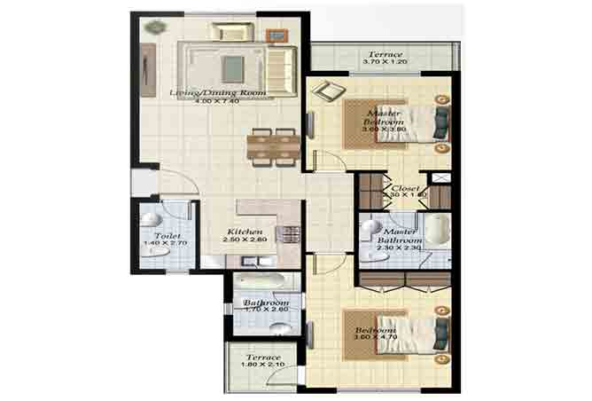 Al Ghadeer Floor Plan 2 Bedroom Terraced Apartment Type b 1134 Sqft