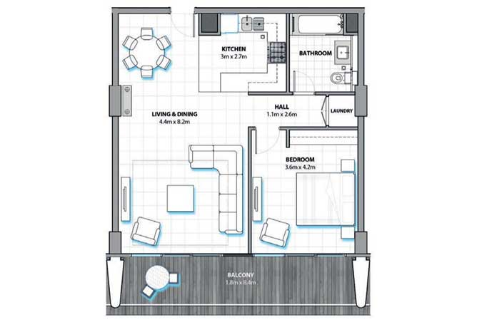 Al Hadeel Floor Plan 1 Bedroom Apartment 914 Sqft