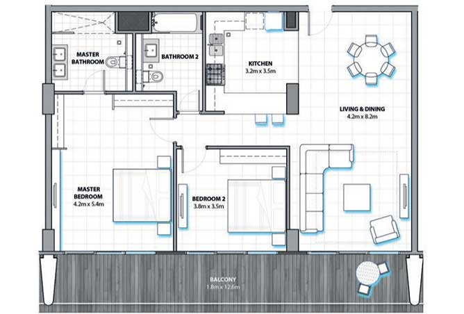 Al Hadeel Floor Plan 2 Bedroom Apartment Type a 1374 Sqft