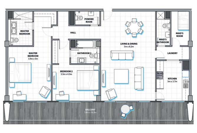 Al Hadeel Floor Plan 2 Bedroom Apartment type B 1822 Sqft