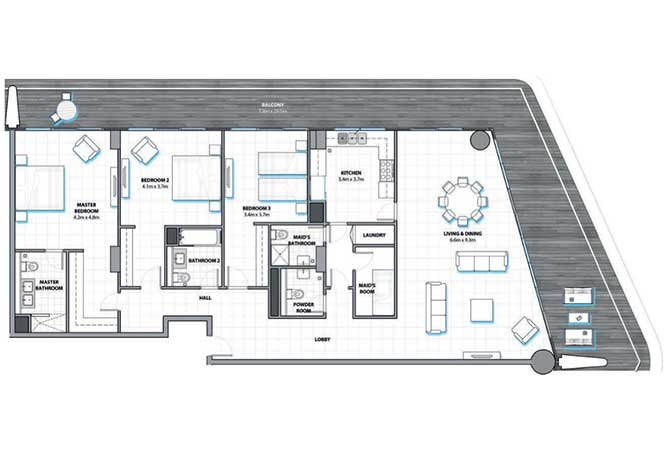 Al Hadeel Floor Plan 3 Bedroom Apartment 2714 Sqft