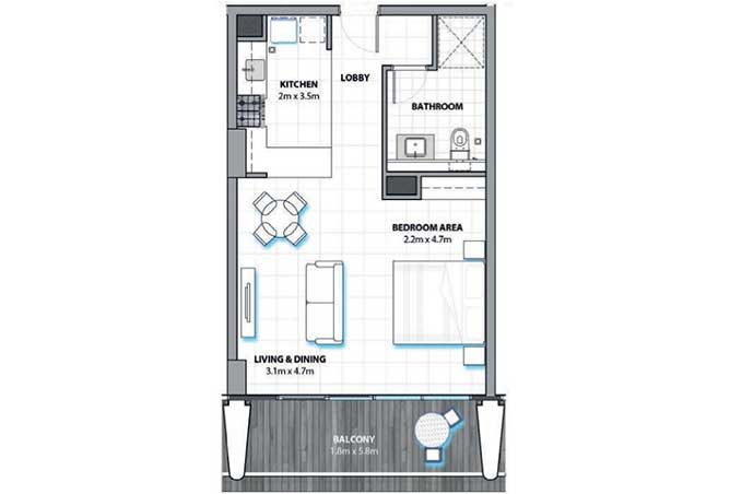 Al Hadeel Floor Plan Studio Apartment 606 Sqft
