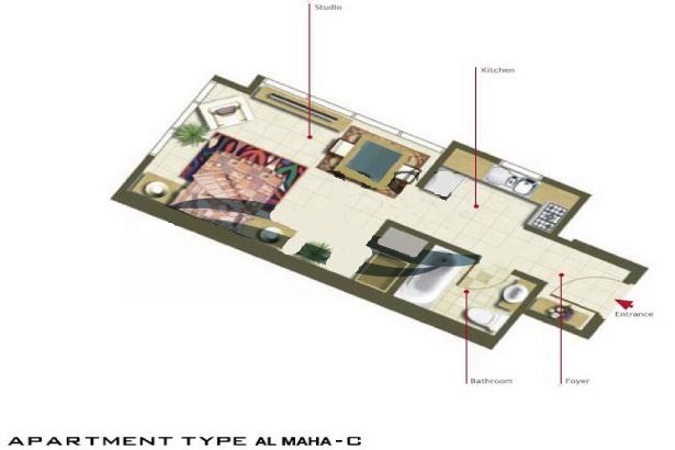 Al Maha Tower Floor Plan Studio Apartment Type C