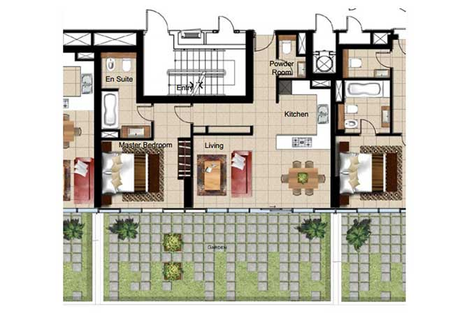 Al Naseem Floor Plan Building A 1 Bedroom Apartment Type 1b 1152 Sqft