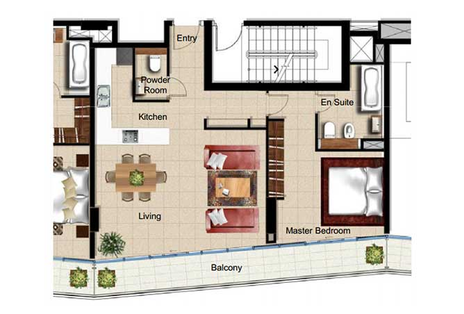 Al Naseem Floor Plan Building A 1 Bedroom Apartment Type 1h 969 Sqft