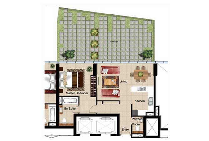 Al Naseem Floor Plan Building A 1 Bedroom Apartment Type 1m 1765 Sqft