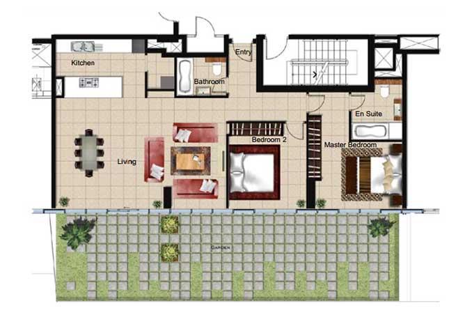 Al Naseem Floor Plan Building A 2 Bedroom Apartment Type 2aa 1970 Sqft