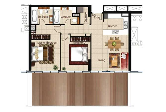 Al Naseem Floor Plan Building A 2 Bedroom Apartment Type 2c 1518 Sqft