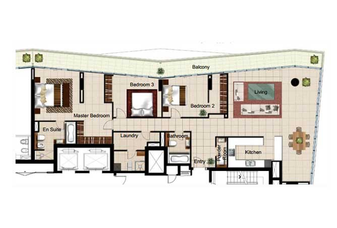 Al Naseem Floor Plan Building A 3 Bedroom Apartment Type 3o 2400 Sqft