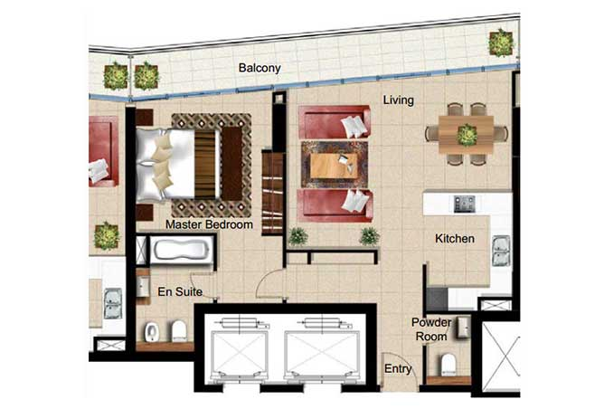 Al Naseem Floor Plan Building B 1 Bedroom Apartment Type 1j 990 Sqft