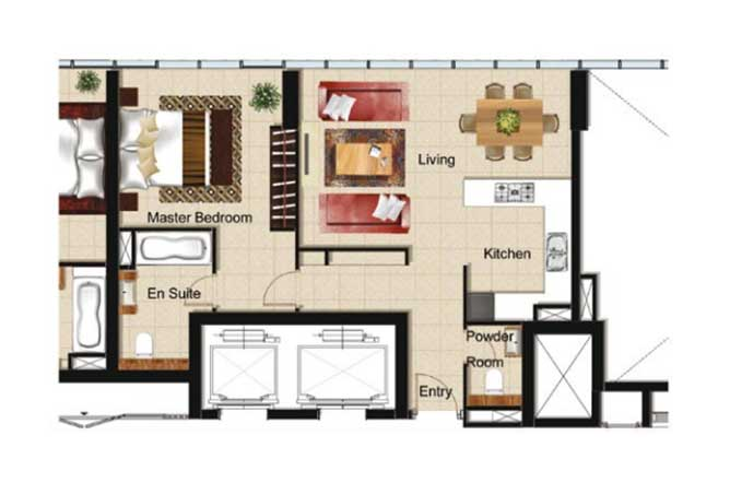 Al Naseem Floor Plan Building B 1 Bedroom Apartment Type 1k 753 Sqft