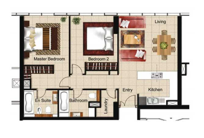 Al Naseem Floor Plan Building B 2 Bedroom Apartment Type 2ab 1012 Sqft