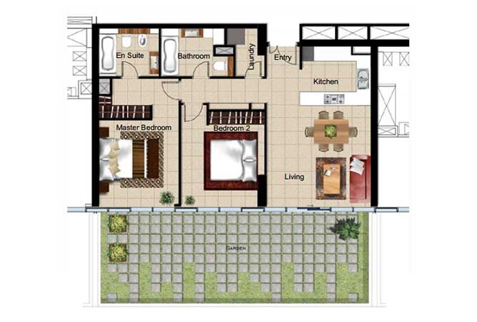 Al Naseem Floor Plan Building B 2 Bedroom Apartment Type 2c 1582 Sqft