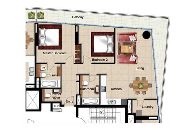 Al Naseem Floor Plan Building B 2 Bedroom Apartment Type 2p 1421 Sqft