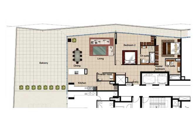 Al Naseem Floor Plan Building B 2 Bedroom Apartment Type 2s 3078 Sqft