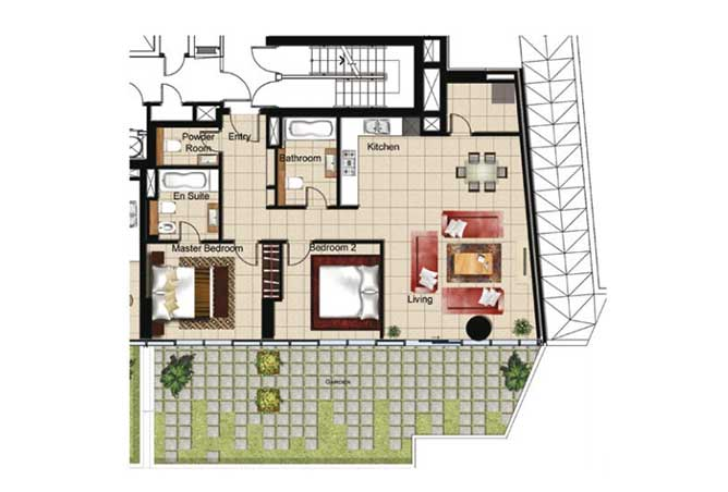 Al Naseem Floor Plan Building B 2 Bedroom Apartment Type 2z 1787 Sqft