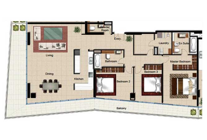 Al Naseem Floor Plan Building B 3 Bedroom Apartment Type 3j 2562 Sqft