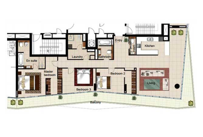 Al Naseem Floor Plan Building B 3 Bedroom Apartment Type 3l 2347 Sqft