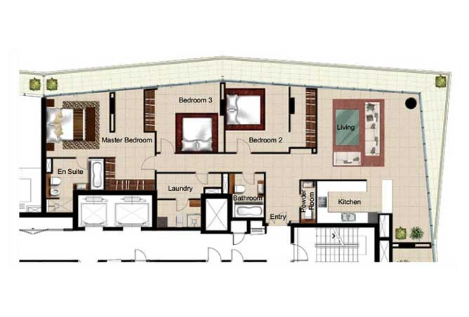 Al Naseem Floor Plan Building B 3 Bedroom Apartment Type 3s 2400 Sqft