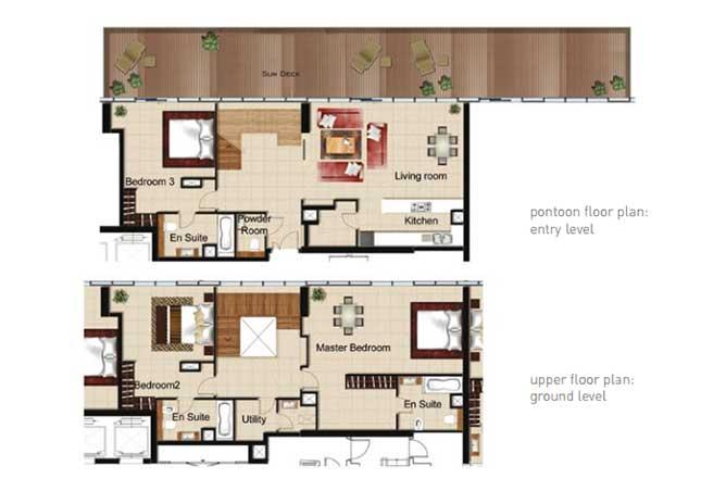 Al Naseem Floor Plan Building B 3 Bedroom Waterside Duplex Apartment Type 3w 3175 Sqft