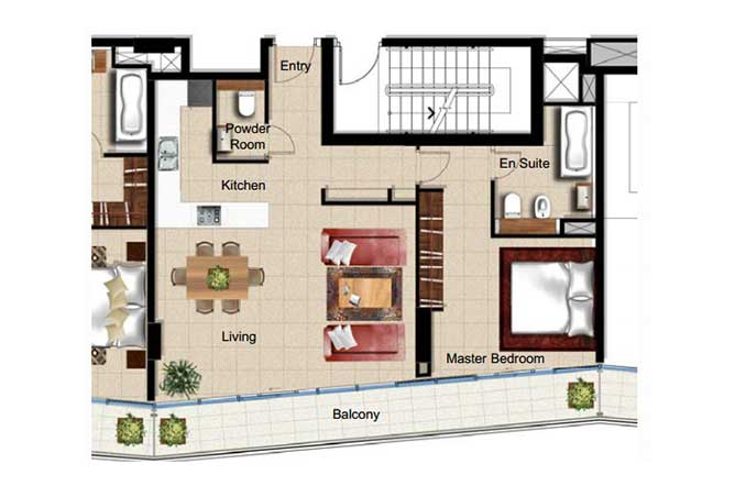 Al Naseem Floor Plan Building c 1 Bedroom Apartment Type 1h 990 Sqft