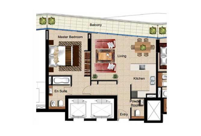 Al Naseem Floor Plan Building c 1 Bedroom Type 1f 969 Sqft