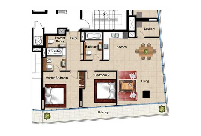 Al Naseem Floor Plan Building c 2 Bedroom Apartment Type 2k 1410 Sqft