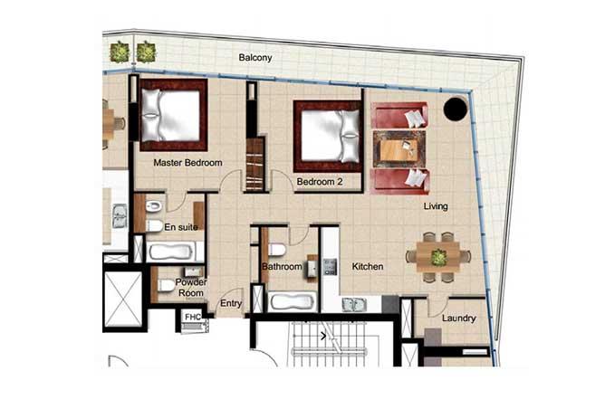 Al Naseem Floor Plan Building c 2 Bedroom Apartment Type 2p 1421 Sqft