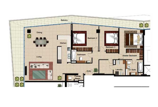 Al Naseem Floor Plan Building c 3 Bedroom Type 3i 2605 Sqft