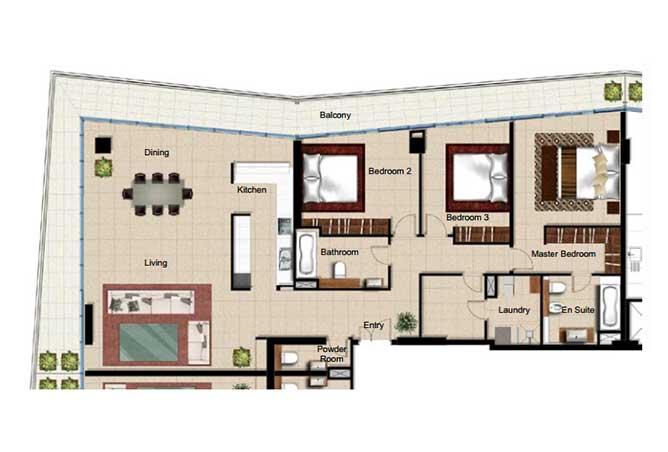 Al Naseem Floor Plan Building c 3 Bedroom Type 3k 2476 Sqft
