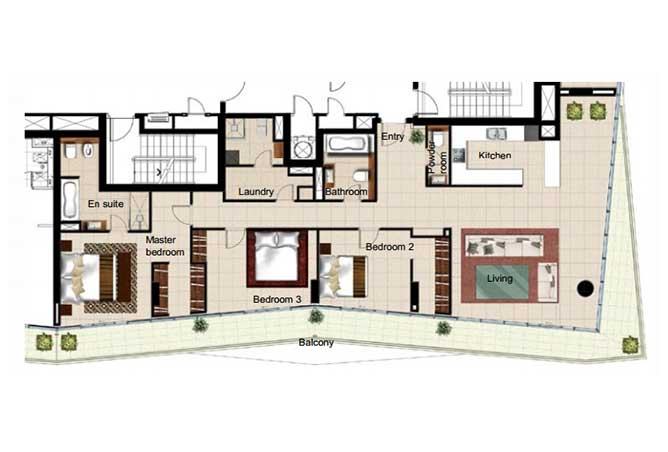 Al Naseem Floor Plan Building c 3 Bedroom Type 3l 2357 Sqft