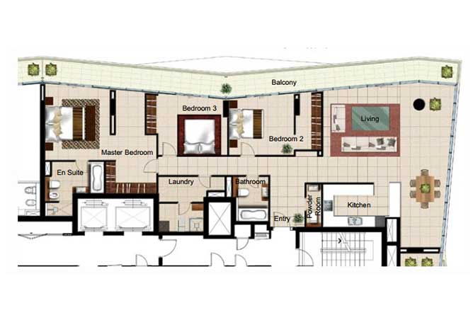 Al Naseem Floor Plan Building c 3 Bedroom Type 3o 2400 Sqft