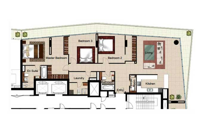 Al Naseem Floor Plan Building c 3 Bedroom Type 3s 2400 Sqft