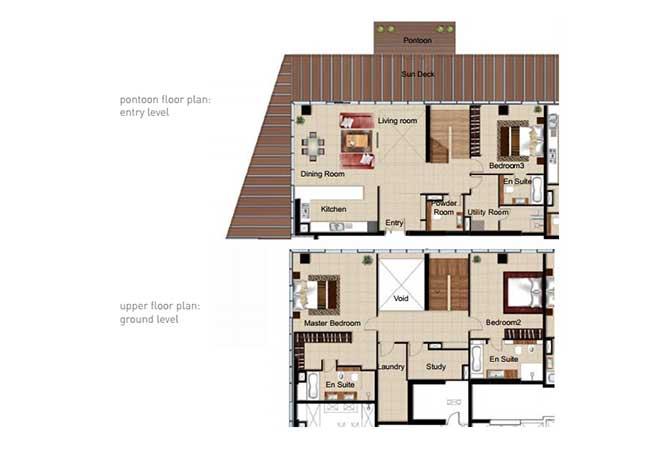 Al Naseem Floor Plan Building c 3 Bedroom Waterside Duplex Apartment Type 3e 3401 Sqft