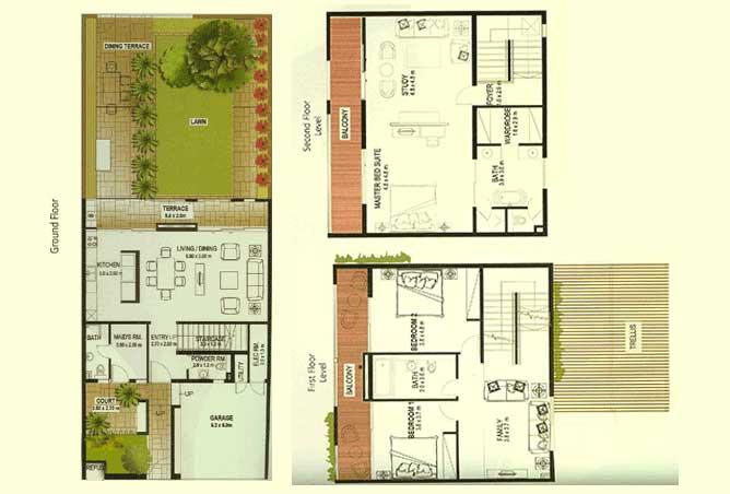 Al Raha Gardens Floor Plan 3 Bedroom Townhouse Type A