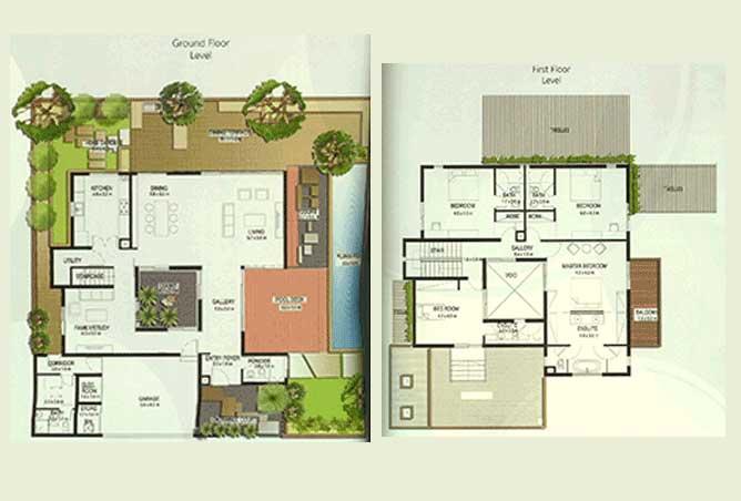 Al Raha Gardens Floor Plan 4 Bedroom Villa Type A