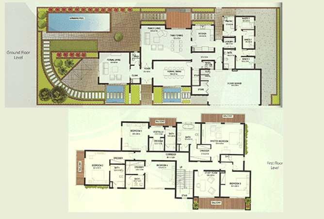 Al Raha Gardens Floor Plan 5 Bedroom Deluxe Villa Type S