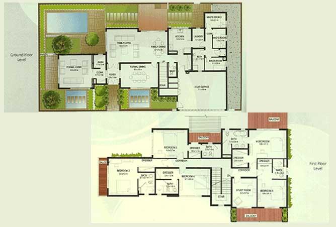 Al Raha Gardens Floor Plan 5 Bedroom Villa Type S