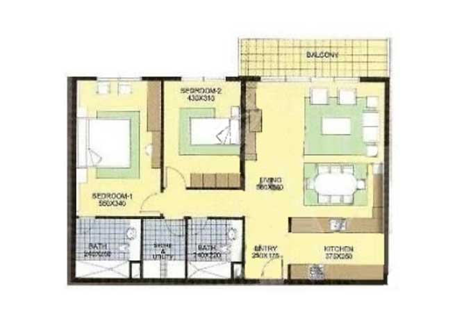 Al Reef Downtown Floor Plan 2 Bedroom Apartment 2a 1141 Sqft