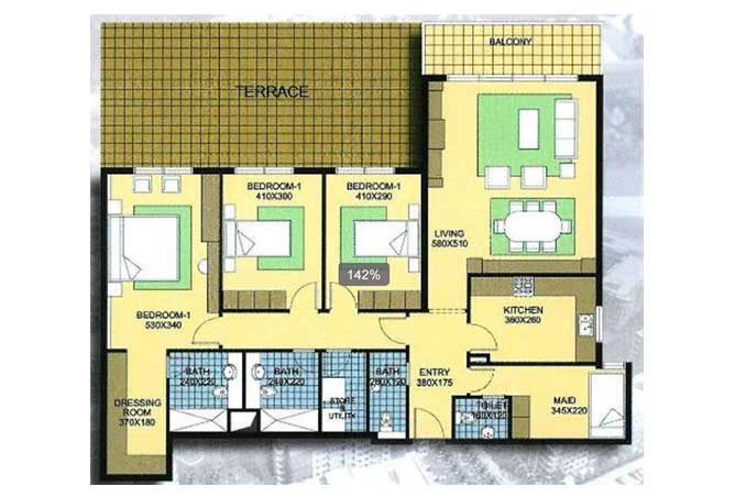 Al Reef Downtown Floor Plan 3 Bedroom Apartment 3b