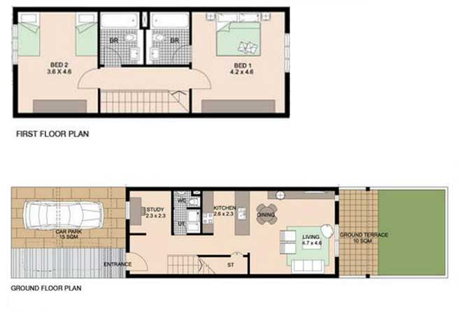 Al Reef Villas Floor Plan 2 Bedroom Villa Type a