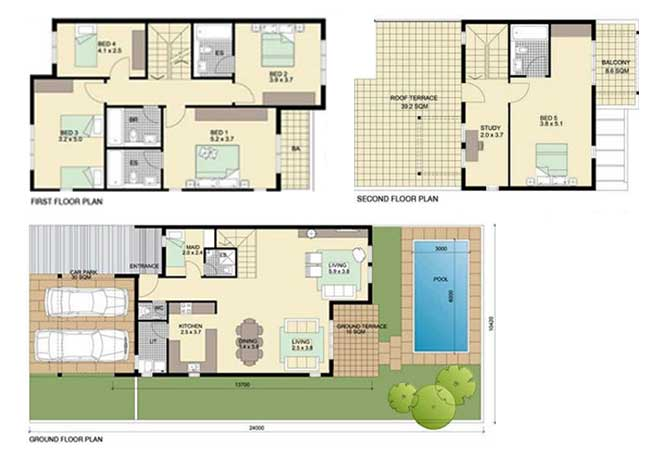 Al Reef Villas Floor Plan 5 Bedroom Villa Type d