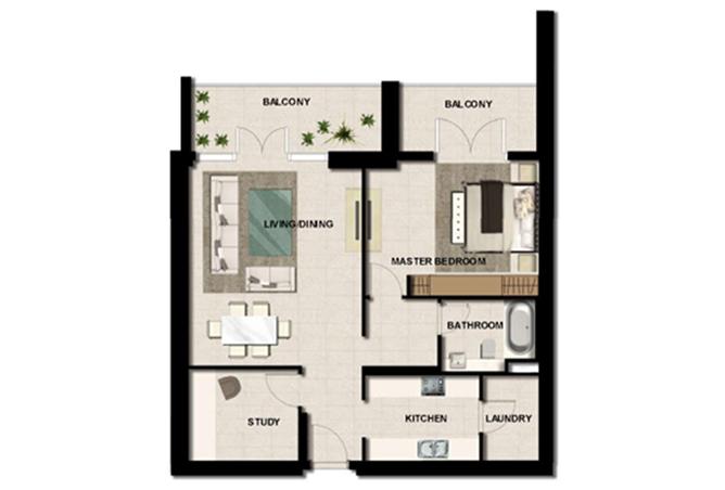 Al Zeina Abu Dhabi Floor Plan 1 Bedroom Apartment Type a 12b