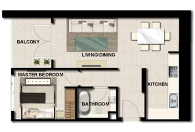 Al Zeina Abu Dhabi Floor Plan 1 Bedroom Apartment Type a 18