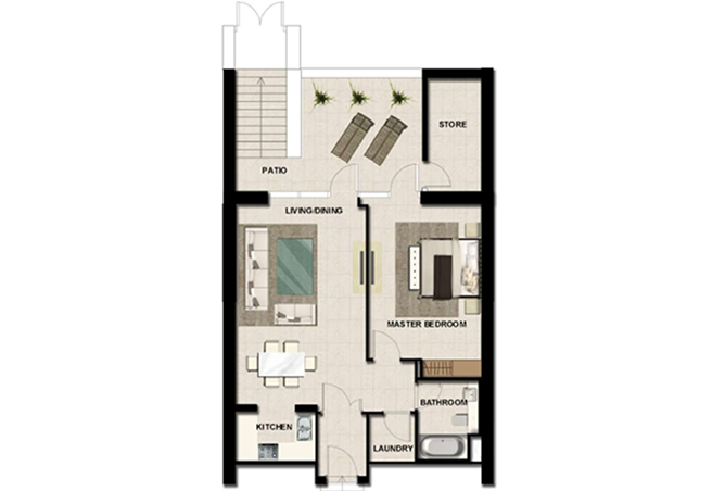 Al Zeina Abu Dhabi Floor Plan 1 Bedroom Apartment Type a tf