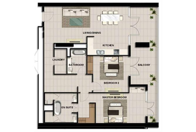 Al Zeina Abu Dhabi Floor Plan 2 Bedroom Apartment Type 10