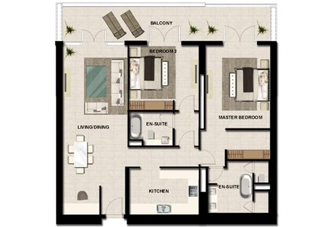 Al Zeina Abu Dhabi Floor Plan 2 Bedroom Apartment Type 15