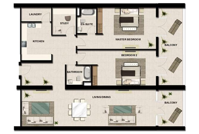 Al Zeina Abu Dhabi Floor Plan 2 Bedroom Apartment Type a 16