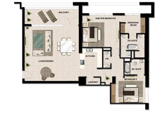 Al Zeina Abu Dhabi Floor Plan 2 Bedroom Apartment Type a 20